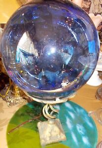 "Fabulous Cobalt Blue Blown Glass Float and Stand 19"" Tall"
