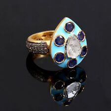 Pave Rose Cut Diamond Polki Tanzanite Gemstone  925 Sterling Silver Ring ER 395
