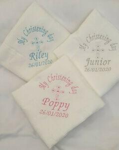 Personalised Embroidered Baby Christening Baptism Naming Shawl Blanket WhiteGift