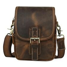 TIDING Men's Genuine Leather Shoulder Messenger Bag Fanny Waist Packs Zip Pouch
