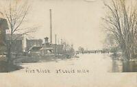 ST. LOUIS MI - Pine River Real Photo Postcard rppc