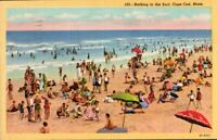 Vintage Postcard. Surf Bathing  Beach Cape Cod Mass. feat Hyannis postmark. pb5