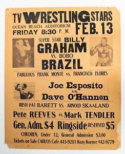 Vintage 1976 WWWF Wrestling Event Poster Superstar Billy Graham BoBo Brazil