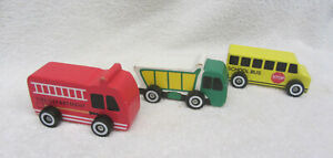 3 small Chunky WOOD VEHICLES Garbage, Fire & School Bus Rolling Wheels Toddler
