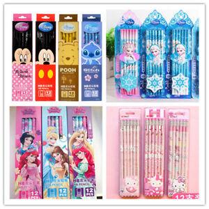12PC Fronzen Elsa HB Pencils Snow Eraser Kids Childrens Party Bag Fillers School