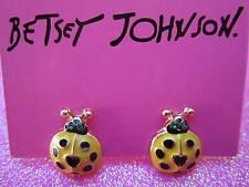 Betsey Johnson Yellow Lady Bug Stud Earrings