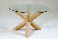 Coffee Table Solid Oak Clear Glass Round Top (70cm) Tripod Legs Natural Finish
