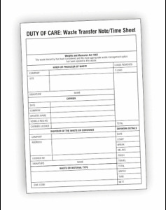 DUTY OF CARE / WASTE TRANSFER NOTE / TIME SHEET PAD