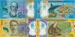 Costa Rica 2 Note Set: 2000 & 5000 Colones (19.4.2018/2020) - p-New/Polymer UNC