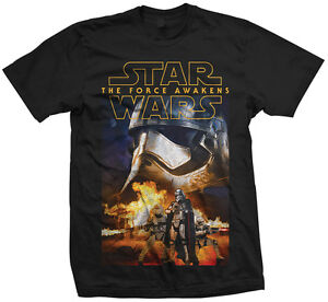 STAR WARS THE FORCE AWAKENS CAPTAIN PHASMA and TROOPERS OFFICIAL T-SHIRT Black