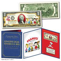 PEANUTS - Charlie Brown & Gang Genuine U.S. $2 Bill in 8x10 Collectors Display