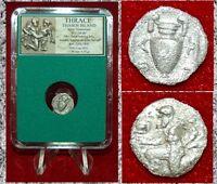 Ancient Greek Coin Thrace Thasos Island Satyr Holding Kantharos Amphora Silver