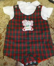 18 mo BABY BOY ROMPER 2 PIECE VINTAGE RED PLAID APPLIQUE NICE LINED PHILLIPINES