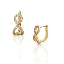 Plata de Ley Oro Amarillo Cristales Blancos Circonita Cúbica Infinito aro