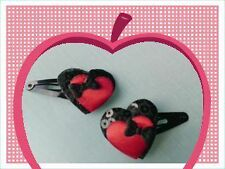 'Bow Down to Love' red & black heart hair clips