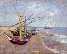 Fishing Boats on  Beach at Saints Maries by Vincent van Gogh A2 Canvas Print