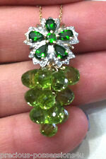 $1,855 WOW! 10K 6.4GR 20 CARATS BRIOLETTE PERIDOT CHROME DIOPSIDE DIA NECKLACE