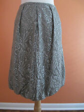 Ann Taylor LOFT Size 10 Silver Gray Metallic Lace Overlay Bubble Skirt
