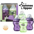 4x Tommee Tippee Colour My World 260ml Decorated Baby Boy Feeding Bottles Purple
