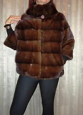 Brand New brown mink fur jacket horisontal style top quality  all sizes.