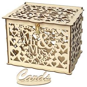 Hollow Carving Wooden DIY Wedding Decoration Supplies Card Money Box Craft NIGH