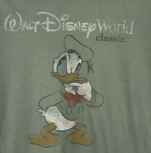 Disney Parks Donald Duck Graphic T-Shirt Small Short Sleeve Tee Cotton Green S