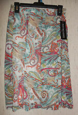 NWT WOMENS NOTATIONS petite PAISLEY & FLORAL PRINT LINED SKIRT   SIZE PS