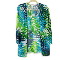 Chicos Womens sz 3 Green Blue Floral Print Open Front Cardigan Sweater