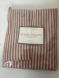 "Pottery Barn Queen Classic Ticking Red/Cream Stripe Bedskirt  14""Drop"