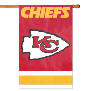 KANSAS CITY CHIEFS HOUSE FLAG APPLIQUE EMBROIDERED 2 SIDED OVERSIZED OUTDOOR