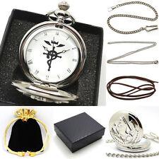 Fullmetal Alchemist Quartz Pocket Watch Set Mens Women Necklace Chain + Gift Box