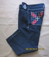 Coogi Black Red Blue Green Plaid Denim Pants Jean Urban Wear W 38 L 34 Dark Blue