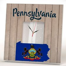 Pennsylvania State Wall Clock Mirror Art Printed Decor Home Gift Wooden Design