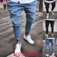 USA Men's Slim Fit Denim Jogger Pants Skinny Solid Jeans Pants Leggings Jogger