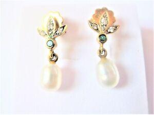 Ohrringe Gold 585 mit Perle, Smaragd und Brillanten, 2,33 g