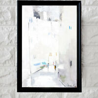 Demenko Natalia WHITE CITY STREET Impressionism Stylish Modern Art Oil painting