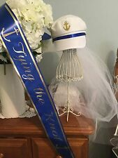 Hens cruise NAUTICAL Bachelorette Captains Sailor Cap & Veil Sash Set,Bride2be
