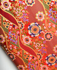SALE! SILK DAMASK BROCADE KIMONO FABRIC! JAPAN FUJI MOUNTAIN PLANTS & FLOWERS