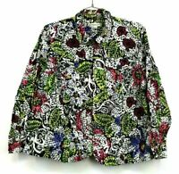 Coldwater Creek Womens Plus Size 2X Multicolor Abstract Print Full Zip Up Jacket