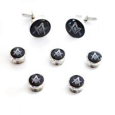 Negro Y Plata Esmaltado Gemelos Insignia Masónica con G & 5 Botón Tacha Set