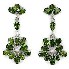 Sterling Silver 925 Oval Genuine Natural Chrome Diopside Open Design Earrings