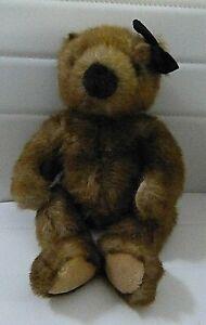 TY BEANIE VINTAGE BROWN SHAGGY PLUSH BEANIE BEAR WITH BLACK BOW - 1996