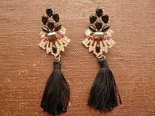 ANTHROPOLOGIE MOST AMAZING BLACK STONES TASSELS 4'' DROP DANGLE EARRINGS NEW