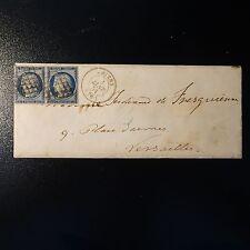 CÉRÈS N°4a BLEU FONCÉ PAIRE SUR LETTRE COVER GRILLE DE 1849 AMIENS -> VERSAILLES