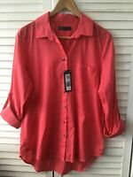 M&S Collection Size 14 Cotton Bright Coral Pink Relaxed Blouse Shirt BNWT