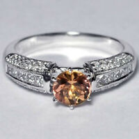 Womens Natural Imperial Topaz Diamond Gemstone Solitaire Ring 14K White Gold