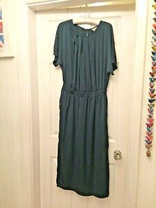MONSOON MAXI LONG BOTTLE GREEN SHORT SLEEVED DRESS SIZE 12 WOMENS LADIES SIZE M