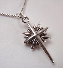 Small Cross and Starburst Pendant 925 Sterling Silver Corona Sun Jewelry