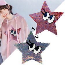stars eyes patches reversible change color sequins sew on patches for clothes V
