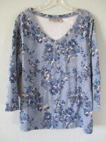 Croft & Barrow Women's Size L Long Sleeve Floral Spring Blouse